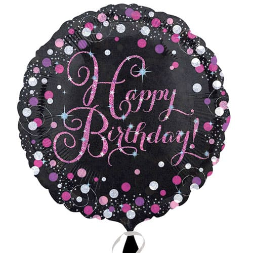 Pink Sparkling Happy Birthday Round Foil Helium Balloon 46cm / 18Inch Product Image
