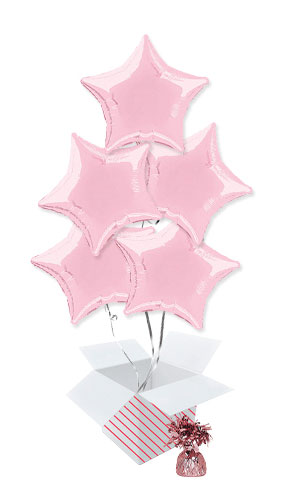 Pink Star Foil Helium Balloon Bouquet - 5 Inflated Balloons In A Box Product Image