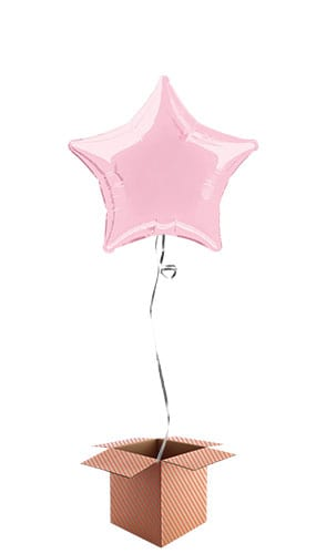 Pink Star Shape Foil Balloon - Inflated Balloon in a Box