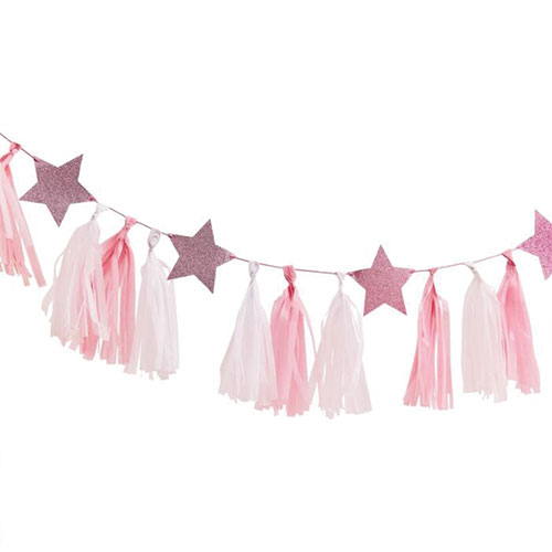 Pink & White Tassels With Glitter Stars Garland Kit Product Gallery Image