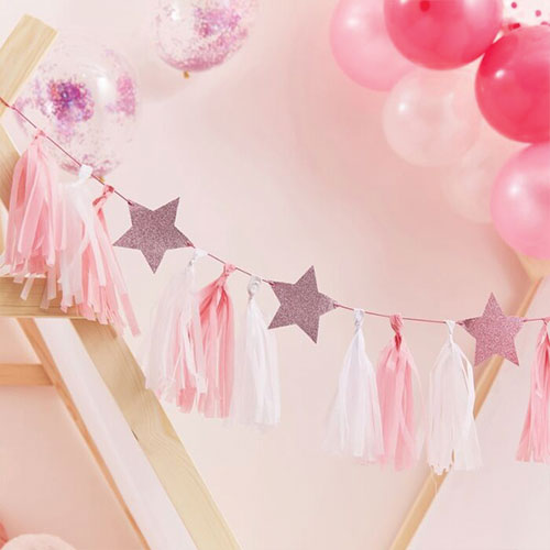 Pink & White Tassels With Glitter Stars Garland Kit Product Image