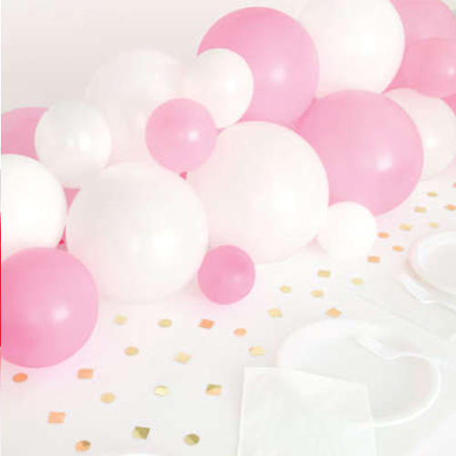 Pink White & Gold DIY Garland Balloon Arch Kit With Confetti