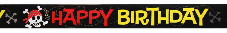 Pirate Fun 'Happy Birthday' Foil Banner - 12 Ft / 366cm Product Image
