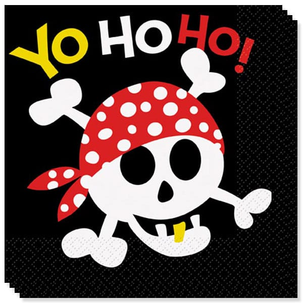 Pirate Fun 2 Ply Luncheon Napkins - 13 Inches / 33cm - Pack of 16