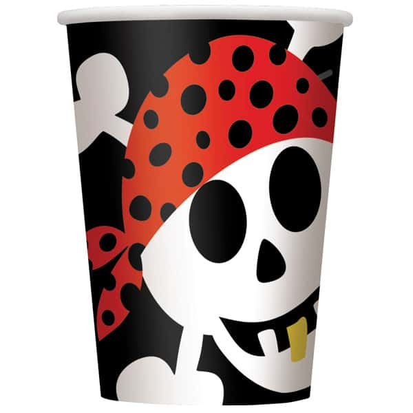 Pirate Fun Paper Cups 270ml - Pack of 8 Product Image