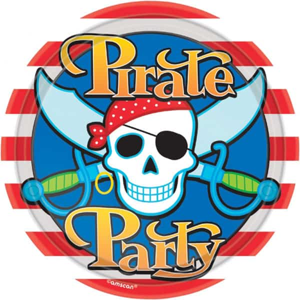 Pirate Party Round Paper Plates 23cm - Pack of 8