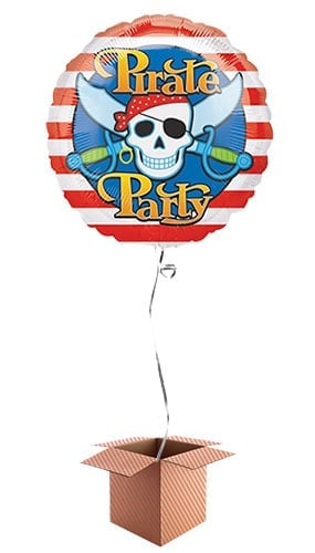Pirate Party Round Foil Balloon - Inflated Balloon in a Box