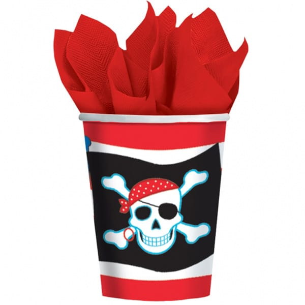 Pirate Party Paper Cups 266ml - Pack of 8 Product Image