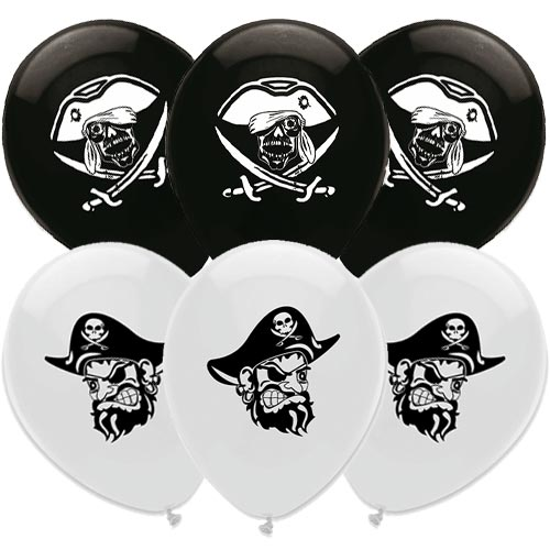 Pirate Party Black and White Latex Balloons 30cm / 12 in - Pack of 6