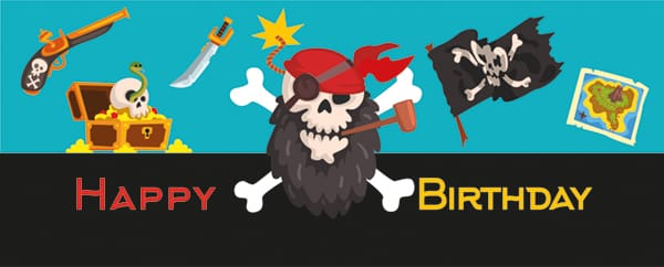 Pirate Party Happy Birthday Blue Design Medium Personalised Banner - 6ft x 2.25ft