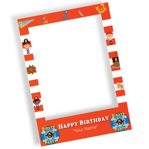 Pirate Party Happy Birthday Personalised Selfie Frame Photo Prop