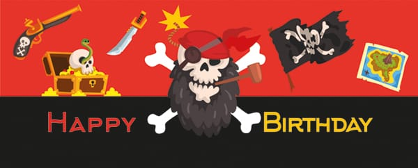 Pirate Party Happy Birthday Red Design Medium Personalised Banner - 6ft x 2.25ft