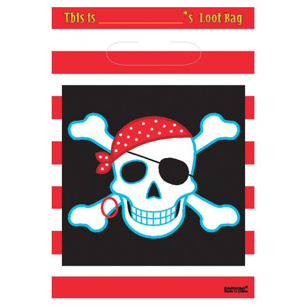 Pirate Party Loot Bags - Pack of 8