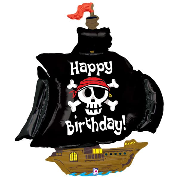Pirate Ship Happy Birthday Helium Foil Giant Balloon 117 cm / 46 in