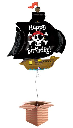 Pirate Ship Happy Birthday Helium Foil Giant Balloon - Inflated Balloon in a Box
