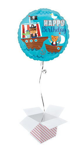 Pirate Ship Happy Birthday Round Foil Helium Balloon - Inflated Balloon in a Box