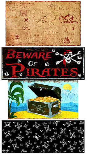 Pirate PVC Party Sign Decorations - Pack of 4 Product Image