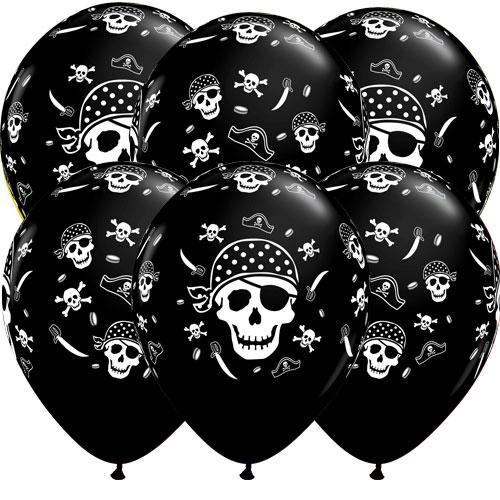 Pirate Skulls & Cross Bones Latex Helium Qualatex Balloons 28cm / 11 in - Pack of 6
