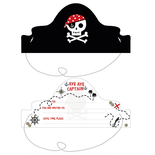 Pirate Treasure Island Invitations with Envelopes - Pack of 8