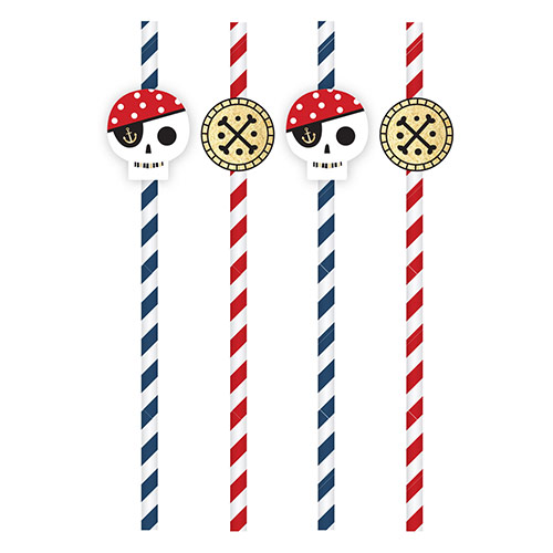 Pirate Treasure Island Paper Straws - Pack of 8 Product Image