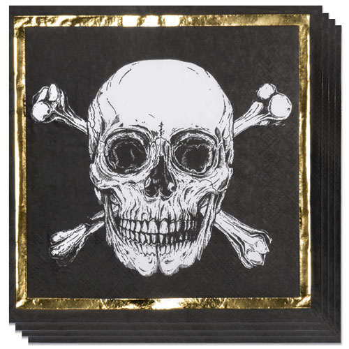 Pirates Gold Foil Luncheon Napkins 33cm 2Ply - Pack of 12
