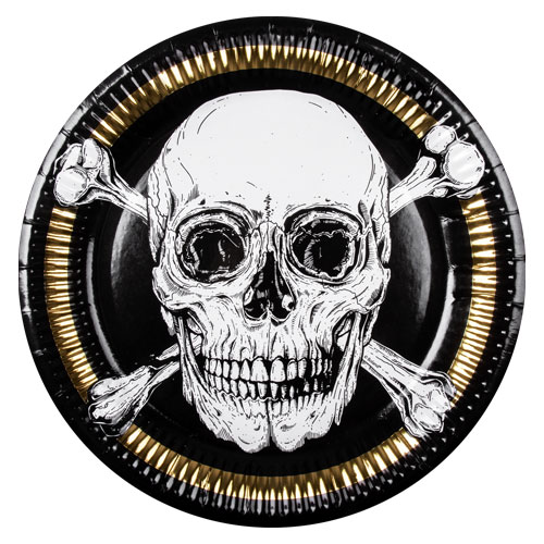 Pirates Gold Foil Round Paper Plates 23cm - Pack of 6