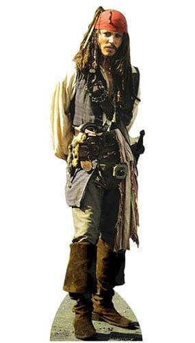 Pirates of the Caribbean Captain Jack Sparrow Lifesize Cardboard Cutout - 183cm