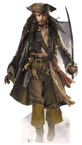 Pirates of the Caribbean Captain Jack Sparrow Sword Lifesize Cardboard Cutout - 183cm