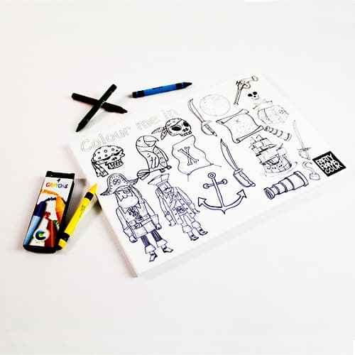 Pirates Themed A4 Colouring sheet With 4 Crayons Product Image