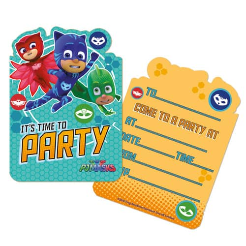 PJ Masks Party Invitations with Envelopes - Pack of 6