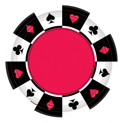 Place Your Bets Casino Round Paper Plates 26cm - Pack of 8
