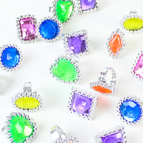 Plastic Gem Rings Favours - Pack of 24 Product Image