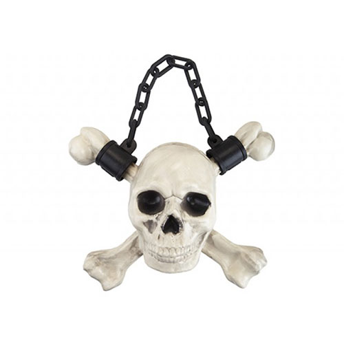 Plastic Skull with Crossbones Halloween Hanging Decoration 30cm Product Image