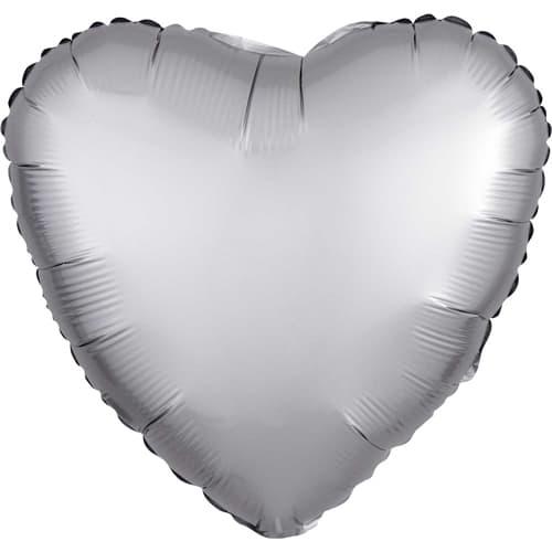 Platinum Silver Satin Luxe Heart Foil Helium Balloon 43cm / 17Inch