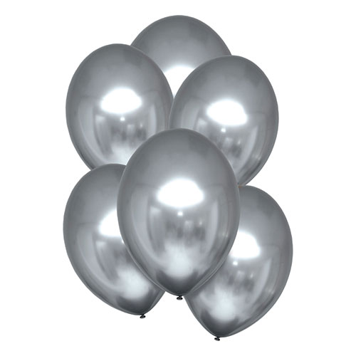 Platinum Silver Satin Luxe Latex Balloons 28cm / 11 in - Pack of 6 Product Image