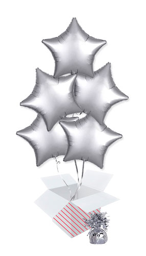 Platinum Silver Satin Luxe Star Foil Helium Balloon Bouquet - 5 Inflated Balloons In A Box Product Image