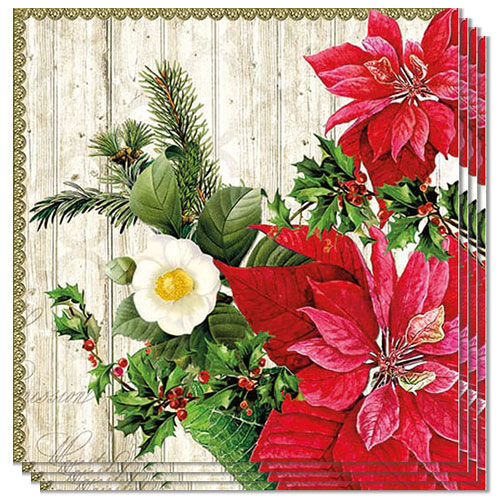 Poinsettia on Wood Luncheon Napkins 3Ply 33cm - Pack of 50 Product Image