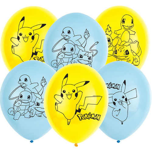 Pokemon Biodegradable Latex Helium Balloons 28cm / 11 in - Pack of 6 Product Image