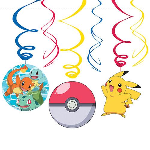 Pokemon Hanging Swirl Decorations - Pack of 6