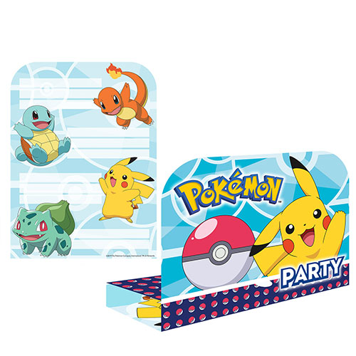 Pokemon Stand-Up Invitations with Envelopes - Pack of 8