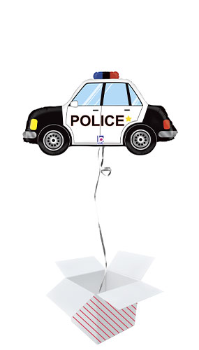 Police Car Helium Foil Giant Balloon - Inflated Balloon in a Box Product Image