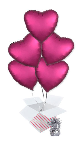 Pomegranate Burgundy Satin Luxe Heart Foil Helium Balloon Bouquet - 5 Inflated Balloons In A Box