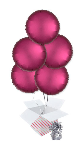 Pomegranate Burgundy Satin Luxe Round Foil Helium Balloon Bouquet - 5 Inflated Balloons In A Box