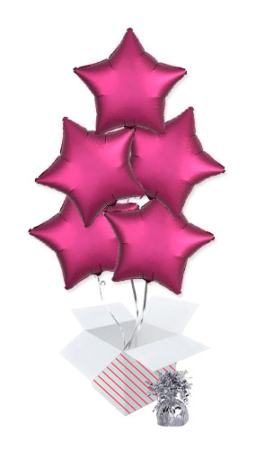 Pomegranate Burgundy Satin Luxe Star Foil Helium Balloon Bouquet - 5 Inflated Balloons In A Box