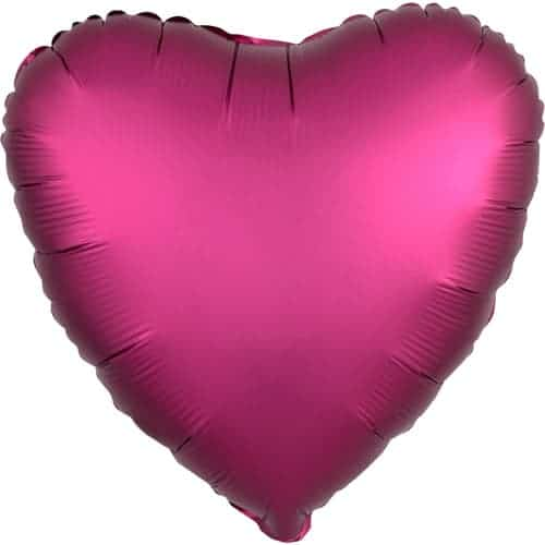 Pomegranate Burgundy Satin Luxe Heart Foil Helium Balloon 43cm / 17Inch