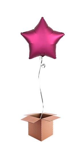 Pomegranate Burgundy Satin Luxe Star Foil Helium Balloon - Inflated Balloon in a Box
