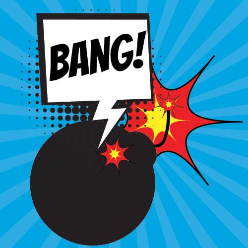Pop Art Bang PVC Party Sign Decoration 20cm x 20cm Product Image