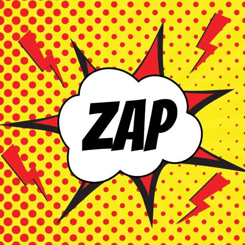 Pop Art Zap PVC Party Sign Decoration 20cm x 20cm Product Image