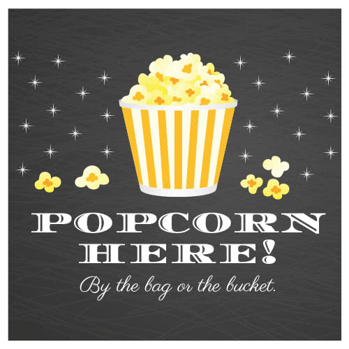 Popcorn Here Chalkboard PVC Party Sign Decoration 25cm x 25cm Product Image