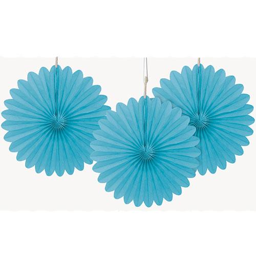 Powder Blue Mini Honeycomb Fans Decorations 15cm - Pack of 3 Product Image